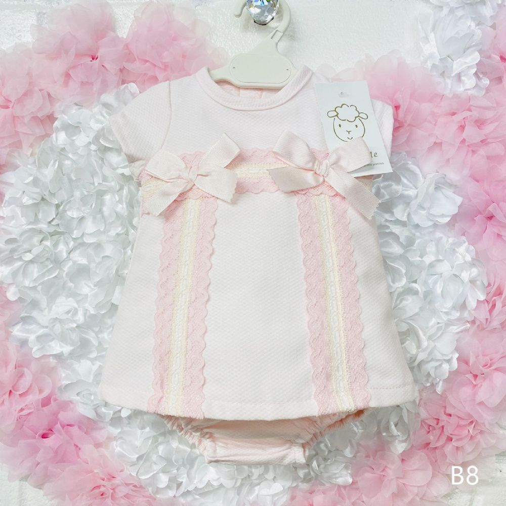 Baby Girl Spanish Pink Waffle Dress Two Bows Lace Details Romany